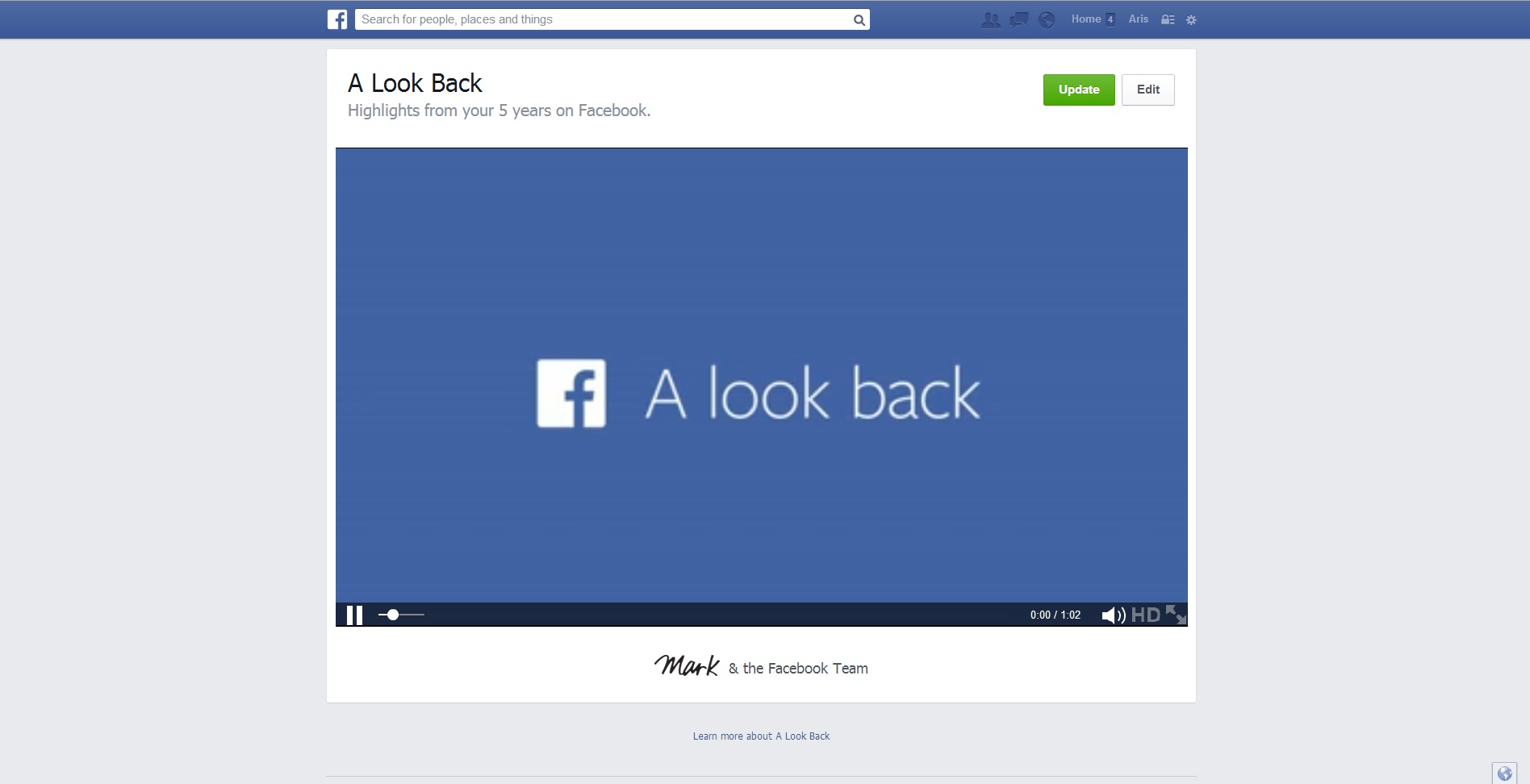 Editing your 'A look back' movie in Facebook